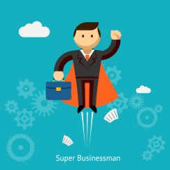 Flying Cute Super Businessman Holding Blue Case Cartoon Isolated on Blue Green Background.