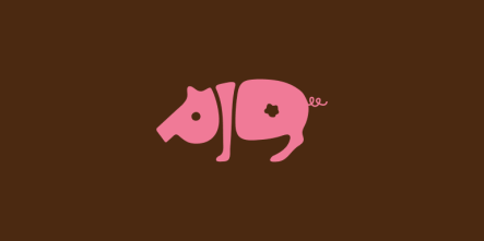 Pig-word-animals-typography-logo-design-by-Dan-Fleming